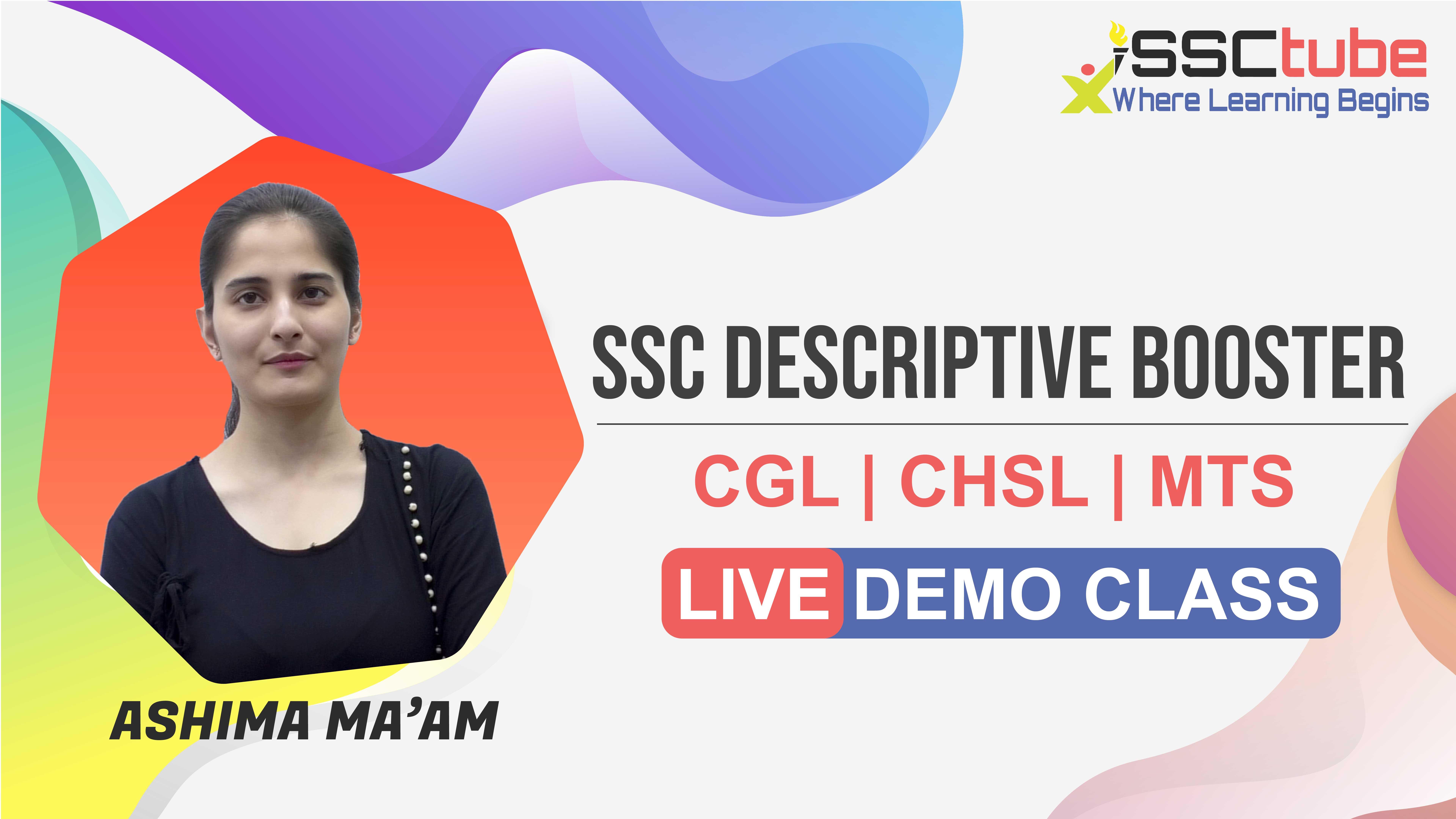 Demo Session 2 | SSC Descriptive | Ashima Ma'am
