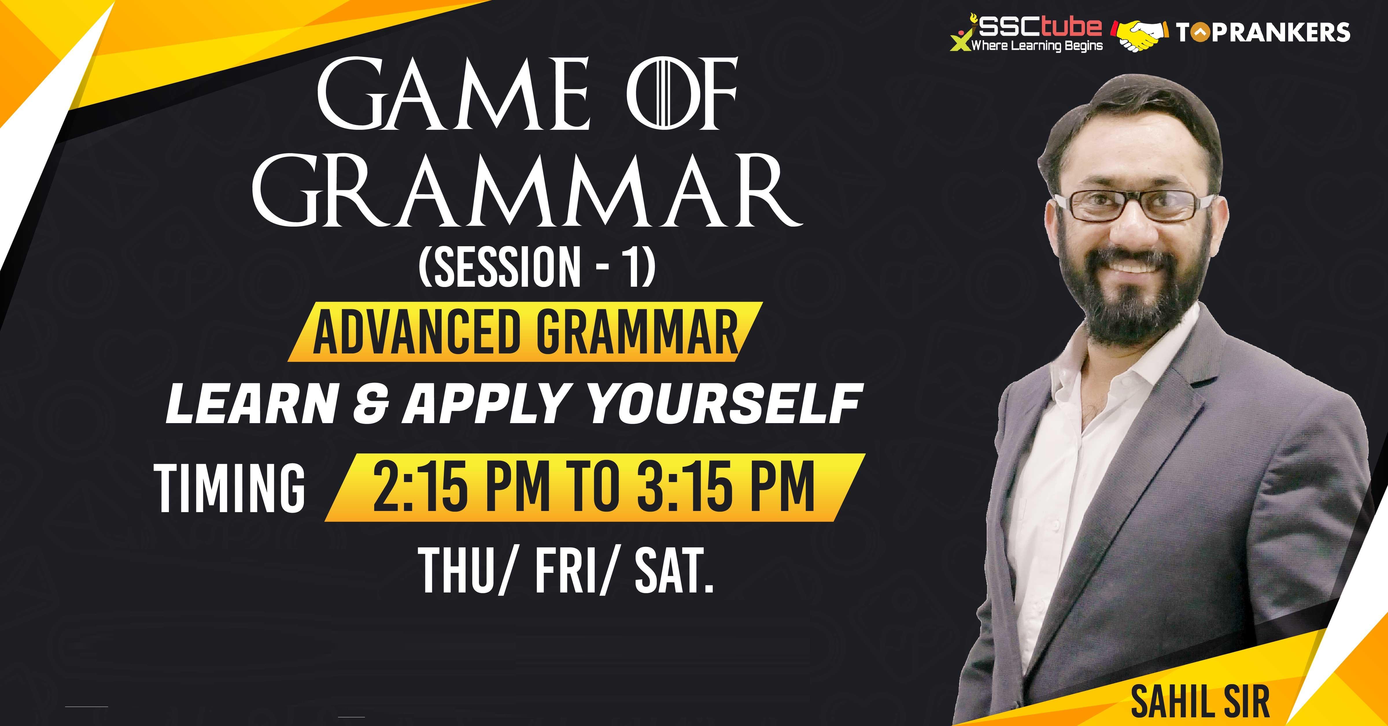 Game of Grammar | By Sahil Mittal Sir