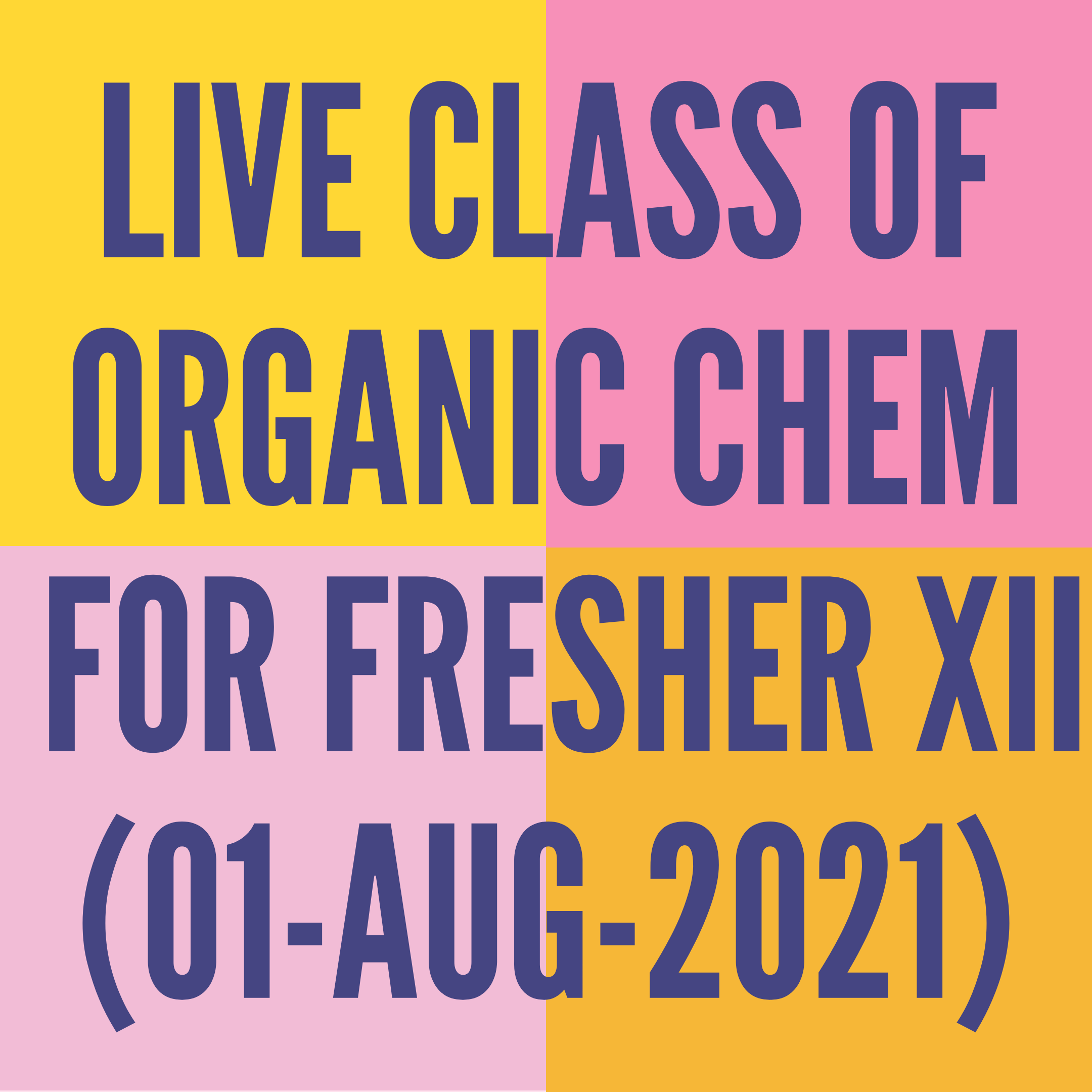 LIVE CLASS OF ORGANIC CHEMISTRY FOR FRESHER XII (01-AUG-2021) HALOALKANES & HALOARENES